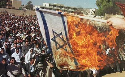 burned israeli flag